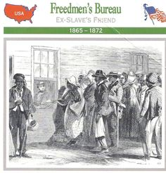 The Freeman's Bureau. March 3, 1865 The Freeman's Bureau was established by Congress on March 3, 1865. The bureau was designed to protect the interests of former slaves. This included helping them to find new employment and to improve educational and health facilities. In the year that followed the bureau spent $17,000,000 establishing 4,000 schools, 100 hospitals and providing homes and food for former slaves.
