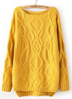 Yellow Long Sleeve Cable Knit Pullover Sweater