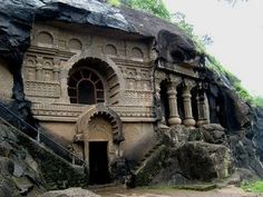 Pandavleni caves in Nashik is a tourist place in Maharashtra. These ancient rock-cut architecture have sculptures and carvings of Hinayana Buddhism. India Architecture, Historical Architecture, Ancient Architecture, Famous Architecture, Gothic Architecture, Mumbai, Ancient Indian History, Temple India, Ancient Buildings