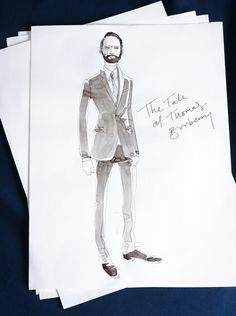 Costume designs for our festive film, The Tale of Thomas Burberry. Influenced by late 19th century details, the custom tailoring is based on our contemporary Chelsea fit collection.