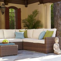 "If you're ready for outdoor furniture that's versatile and durable enough to be enjoyed for many seasons to come, you're ready for our Echo Beach Sectional. Handcrafted of synthetic rattan over a weatherproof support and rust-resistant wrought iron frame, this modern design works beautifully with many outdoor styles. Like yours, for instance. <br> <br> <a href=""http://www.pier1.com/be-inspired/how-to/configure-echo-beach,default,sc.html?icid=ODS001-configure_echo_beach"">View the Echo Beach…"