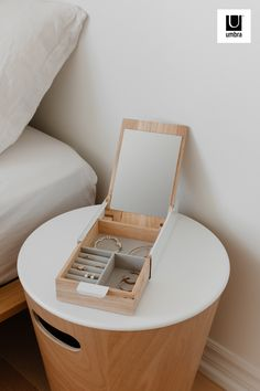 $20 · Reflexion's organization reflects functionality. Its practical mirrored lid simplifies your getting-ready process and its ample space makes for easy storage of various accessories. There is one compartment specifically devoted to rings and two general areas to hold items of varying sizes. Reflexion has a lined padded base to protect its surface, and more importantly, your prized possessions. Modern Jewelry Box, Jewelry Box Plans, Diy Jewelry Box, Exterior Color Schemes, Jewellery Box Making, Smart Furniture, Furniture Ideas, Jewellery Storage, Jewelry Organization