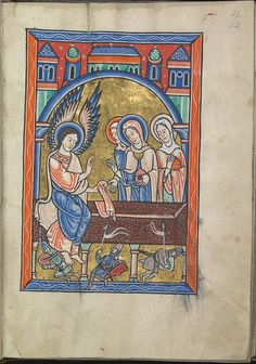 Images from the life of Christ - The three Maries at the empty tomb - Psalter of Eleanor of Aquitaine (ca. 1185) - KB 76 F 13, folium 023r.