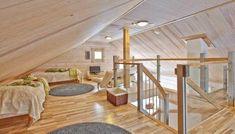 Parvi on tunnelmallinen oleskelu- ja makuutila, olipa se pieni tai suuri. Stairs, Interior, Log Cabins, Home Decor, Summer, Stairway, Decoration Home, Summer Time, Indoor