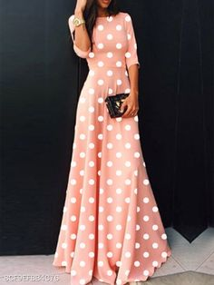Product Name Round Neck Polka Dot Maxi Dress Brand Name Chicokay SKU Material Polyester Collar & neckline Round Neck Sleev… Simple Dresses, Elegant Dresses, Beautiful Dresses, Awesome Dresses, Long Casual Dresses, Formal Outfits, Dress Casual, Formal Dresses, Boho Dress