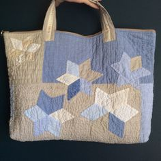 Patchwork linen tote quilted patchwork tote bag by HobbsHillQuilts