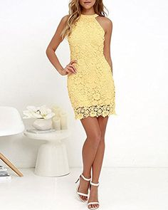 Collect love notes from secret admirers right and left in the Love Poem Yellow Lace Mini Dress! Floral lace dress with comfy knit lining and a halter neckline. Blue Grad Dresses, Yellow Lace Dresses, Hoco Dresses, Floral Lace Dress, Cute Dresses, Halter Dresses, Party Dresses, Simple Dresses, Casual Dresses For Women
