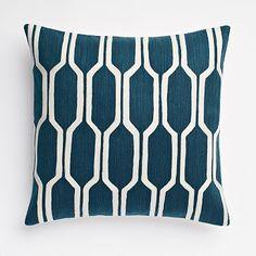 Honeycomb Crewel Pillow Cover - Blue Lagoon #westelm
