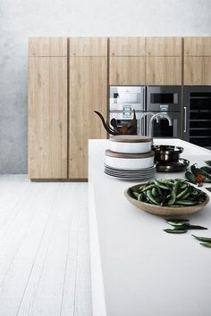 white and wood kitchen.