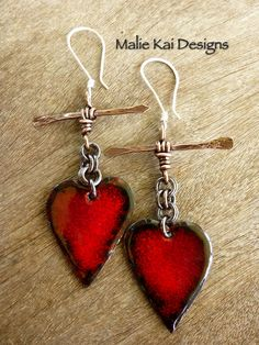 Art Jewelry Elements Earring Challenge #2 - Shoot That Arrow to My Heart Earrings Enameled hearts and arrows made by me :)