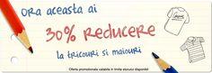 Începând cu orele 15 beneficiaţi de o reducere de 30% la toate modelele de tricouri şi maiouri. Reducerea este valabilă până la orele 16. Spor la cumpărături!