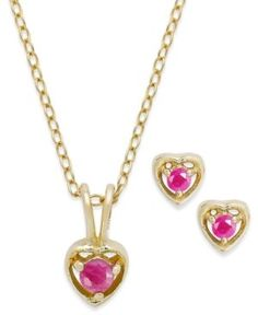 Children's 18k Gold over Sterling Silver Necklace and Earrings Set, July Birthstone Ruby Heart Pendant and Stud Earrings