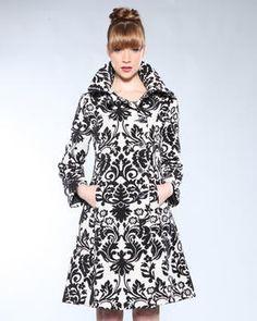 Desigual - Abrigal Black and White Print Coat