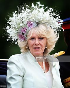 Camilla, Duchess of Cornwall is seen during the Trooping The Colour outside Buckingham Palace on June 2008 in London, England. The Trooping The Colour is the Queen's Annual Birthday Parade and. Get premium, high resolution news photos at Getty Images Camilla Duchess Of Cornwall, Duchess Of Cambridge, Royal Uk, Camilla Parker Bowles, Philip Treacy, English Royalty, Fancy Hats, Green Hats, Windsor