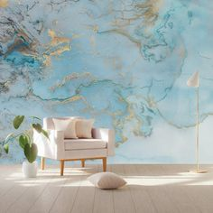 """Wave Wallpaper Abstract Waves Wall Mural Nordic Art Wall Decor Modern Home Decor Living Room Bedroom Scandinavian Cafe Design This fabric-textile and removable wallpaper is very suitable for Living Room, Cafe, Bedroom Themes : ABSTRACTION, Waves and surfing [WALLPAPER SIZE] ► 37""""W × 23""""H inches"""