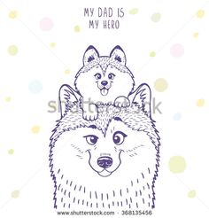 Husky dad with a cute husky kid sitting on his head. Stylish silhouettes cartoon character Husky. Holiday, fathers day. Vector illustration - stock vector