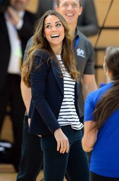 Catherine Duchess of Cambridge plays volleyball at the SportsAid Athlete Workshop on Oct. 17, 2013.