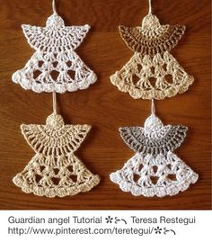 Christmas Crochet Ornaments with Free Patterns- Guardian Crochet Angel Pattern Crochet Diy, Thread Crochet, Crochet Motif, Crochet Crafts, Crochet Flowers, Crochet Projects, Crochet Things, Crochet Afghans, Crochet Blankets