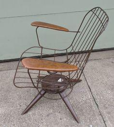 Vintage Mid Century Modern Eames Era Wire Chair Brown Homecrest