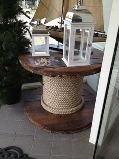 *Cable Reel Repurposed ibto a side end table or a rustic coffee table Cable Reel Table, Wooden Cable Reel, Cable Spool Tables, Wooden Cable Spools, Wood Spool, Recycled Furniture, Recycled Wood, Garden Furniture, Diy Furniture