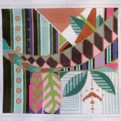 Handpainted Needlepoint Canvas Geometric Abstract Crazy Quilt Design by Sophia - can't wait to stitch one of her abstracts...but which one?