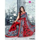 red-grey-color-designer-embroidery-printed-sarees