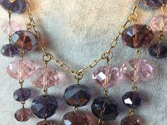 Purple/Pink Crystal Multi-Drop Statement Bib Necklace