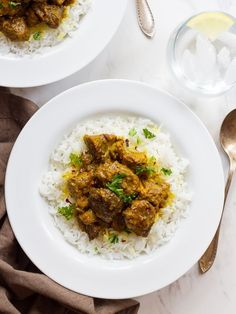 Persian Lamb Stew - Simple stew with meat, turmeric, and chili pepper flakes. Slowly cooked, tender stew over basmati rice. | ToriAvey.com #MiddleEasternrecipe #stew #comfortfood #lamb #TorisKitchen