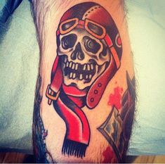 ~ New Traditional tattoo ~ pilot skull by Dan Santoro