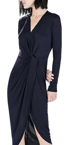 Lingswallow Women's Black Sexy V Neck Long Sleeve Irregular Pleated Long Dresses * You can find out more details at the link of the image. (This is an affiliate link and I receive a commission for the sales)