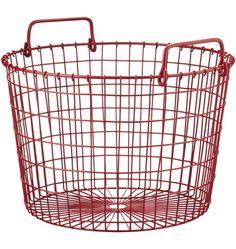 Red Round Wire Basket