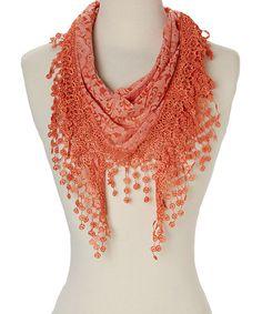 Another great find on #zulily! Orange Floral Tassel Scarf #zulilyfinds