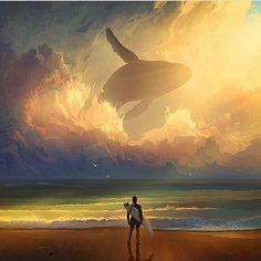"""Sharing this amazing digital painting. Artist UK #illustration #art #whale…"