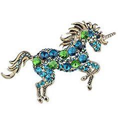 Gold Tone Running Unicorn Brooch Pendant