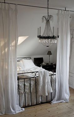 Drape Curtains On Ceiling Over Bed, Pretty :) This Could Work Since Our Bed  Is Right Under A Window | Massage | Pinterest | Drapes Curtains, ...