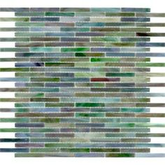 "Interesting backsplash tile. Elida Ceramica 14"" x 13"" Mosaic Jade Brick Glass Wall Tile"