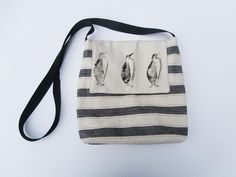 Hand printed bag.Black and cream stripe by lindywhittonstudio on Etsy
