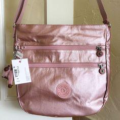 Kipling Zelenka Handbag Crossbody Bag Icy Rose Metallic  | eBay