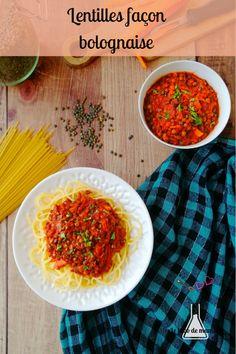 {Lentilles façon bolognaise} Une idée de recette facile et familiale pour changer du traditionnel saucisses/lentilles : des lentilles façon bolognaise #lentilles #recette #végétarienne