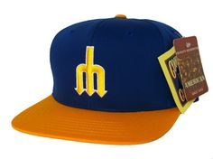 2a4814e92bc SEATTLE MARINERS Retro Old School Snapback Hat - MLB Cap - Original TAGS -  Royal/Gold: Amazon.co.uk: Sports & Outdoors
