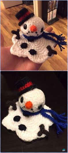 Crochet Melting Snowman Free Patterns- Amigurumi Crochet Snowman Stuffies Toys Free Patterns