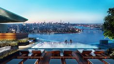 Stunning sky-high views of Manhattan — and that's just from the pool. Brooklyn Point in Downtown Brooklyn features the highest rooftop pool in the city. Rooftop Pool, Outdoor Swimming Pool, Swimming Pools, Infinity Pools, Brooklyn New York, New York City, Luxury Estate, Luxury Lifestyle, Condominium