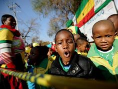 """Schoolchildren sing """"Happy Birthday"""" to former South African President Nels - The Independent Heart Hospital, Singing Happy Birthday, Pretoria, Nelson Mandela, South Africa, Presidents, African, School Children, Birthday Celebrations"""
