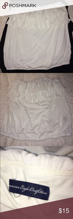 Tube top Ruffled off white tube top. Great condition American Eagle Outfitters Tops Blouses