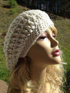 Slouchy Beanie, Slouch Hat, Beret, White on Etsy, $22.00