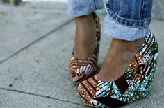 I'd sacrifice being freakishly tall if I had these batik print shoes.