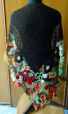 Beautiful freeform edging {Song Mei Li freeform crochet}