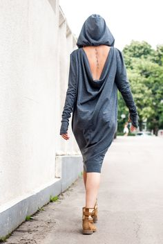 Asymmetric Long Dress / Loose Maxi Dress / Loose Oversize Tunic / Asymmetrical Tunic / Extravgant Dress Top TDK09