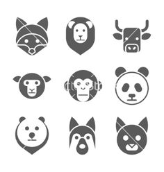 Animal face set vector image on VectorStock Face Illustration, Illustrations, Geometric Poster, School Art Projects, Tatty Teddy, Iconic Characters, Animal Faces, Pictogram, Pet Portraits