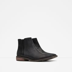 FLAT LEATHER BOOTIES - Shoes - TRF | ZARA United States